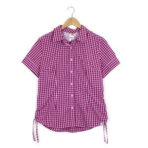 North Face Plaid Button Up Short Sleeve Shirt
